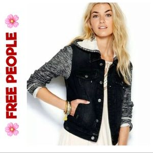 FREE PEOPLE Knit Hooded Denim Jacket Sz. S